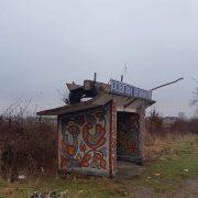Збитки на Андрія: у Довгому Войнилові віз опинився на павільйоні зупинки (ФОТОФАКТ)