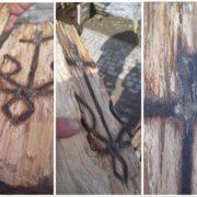 На Франківщині чоловік знайшов тризуб з хрестом в деревині (фото)