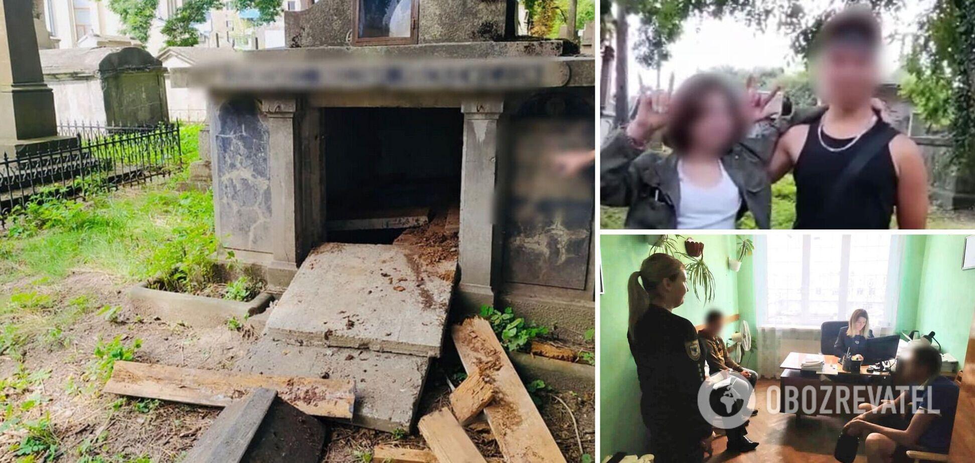 На Прикарпатті неповнолітні вандали зруйнували склеп: усе знімали на відео